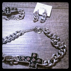 Jewelry - Cross and chain necklace,  bracelet and earring se